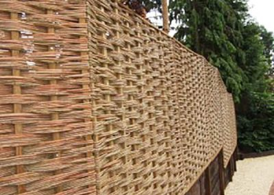 Willow Fencing in Garden at Stockbridge Hampshire