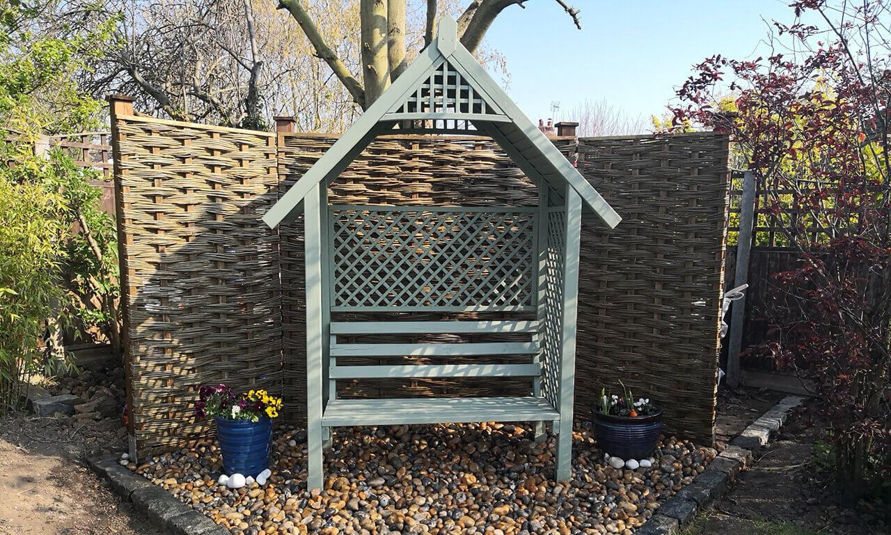 Garden in Canterbury using willow hurdles