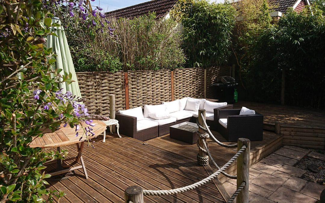 Hurdles around a decking area to give privacy